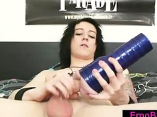gay emo busting his nuts with a fleshlight part2