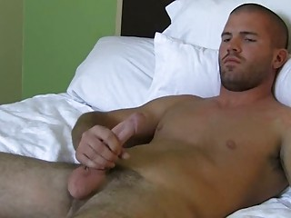 handsome gay fellow jerks off his chubby shaft