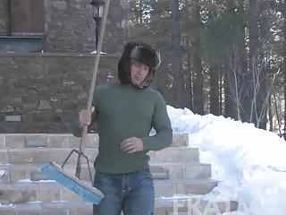naughty gay stud doing housework openair