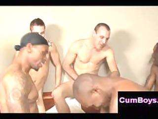 bareback drilling inside mixed gay group sex