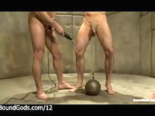 tied cock to weight ball gay obtains punished by