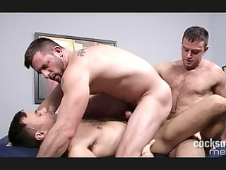triple filthy gay studs having insane group fuck