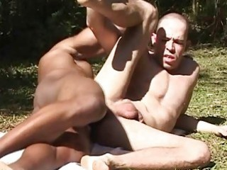 banging muscled gay fellow and facial