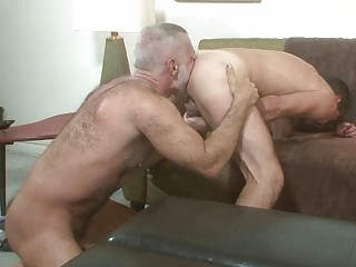 two ancient gay hunks tasting every others arse