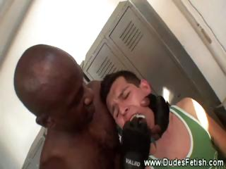 brown gay hunk restraining colorless studs bottom