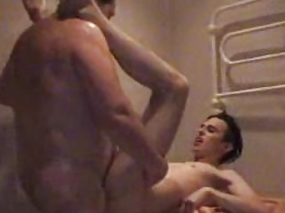 fat gay daddy slamms twinks taut arse into tub