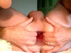 bottom hand vibrator insertion gape butt enjoy