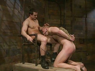 blindfolded gay hunk had roughly abused and