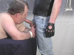 fat man acquires bound and butt drilled