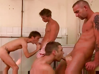 extremely impressive gay 4 some gang bang act
