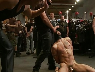 muscled gay hunk obtains tied up and dominated