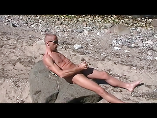 gay henndrik solo sea coast exposed sperm on