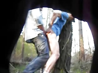 hidden cam gay bang against a tree