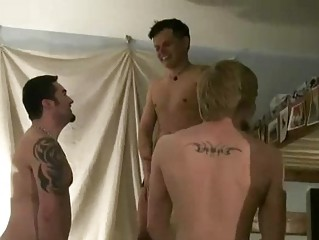 triple tattooed gay studs having boy on male on