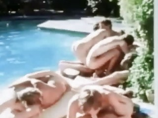 vintage poolside twink gay group fuck