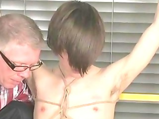 amateur gay man with emo haircut takes tied and