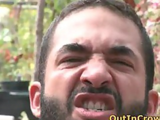 bearded gay gardener gives licking part1