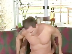 sweet stud gang-bangs anal on the couch