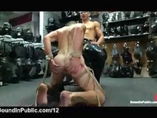 bound gay licks and jerks off cocks in leather