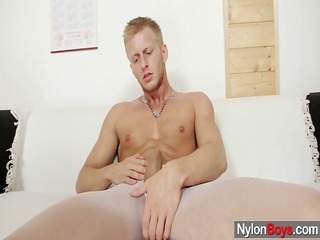 david masturbates in pantyhose till him cums on