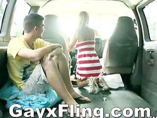 slutty gay duo outdoor joy inside car