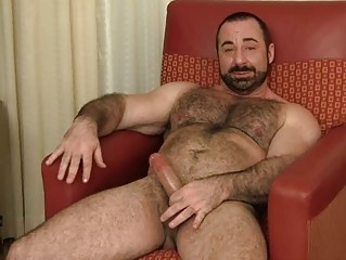 bearded gay hunk jerks off his plump boner