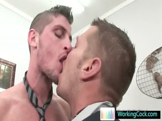 shocking studs licking and banging at the bureau