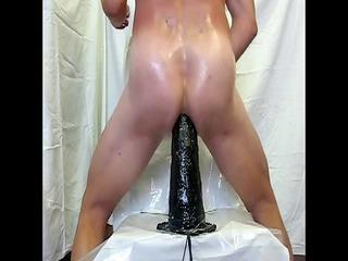 my deep butt hole against the big vibrator