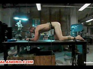 motor oil bondage gay bdsm in the metal shop