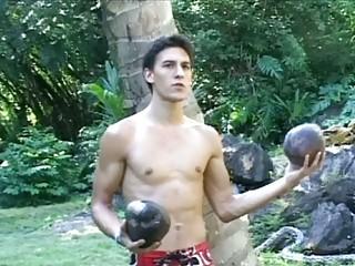 slutty gay man demonstrates off his figure