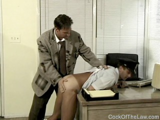 cop is punished and pierced by boss