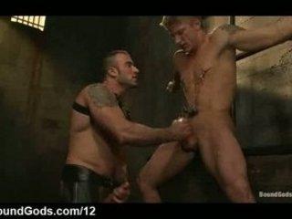 bound gay obtains handjob and oral pierced inside