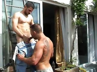 bushy gay guy had his bottom tasted outside
