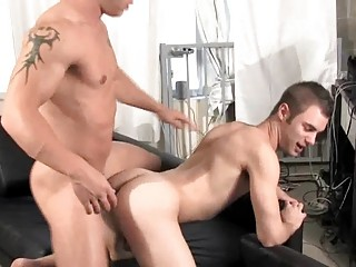gorgeous gay stud takes his bottom fucked into