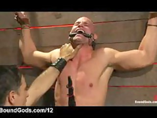 bound gay takes electricity and anally banged