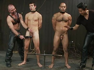 two gay fuckers had tortured into the dungeon