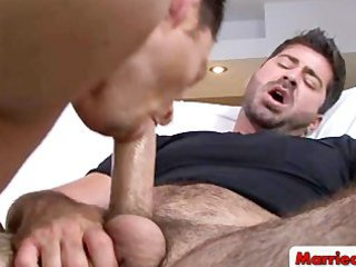 awesome gay stud piercing and licking shaggy man