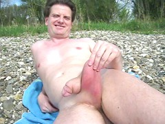 sperm into outside with saline balls and dick