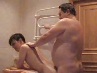 fat gay daddy gangbangs his amateur twink into